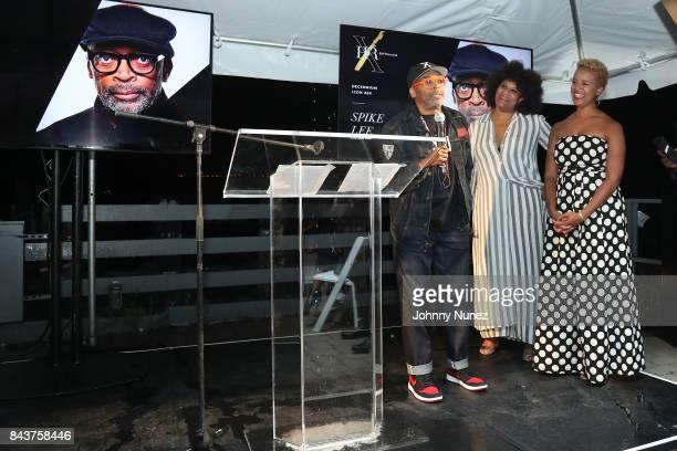 Julee Wilson Spike Lee and Brandice Daniel Attends Harlem's Fashion Row at La Marina Restaurant Bar Beach Lounge on September 6 2017 in New York City