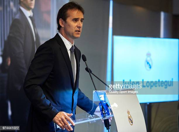 Julen Lopetegui addresses the media after being announced as new Real Madrid head coach at Santiago Bernabeu Stadium on June 14 2018 in Madrid Spain