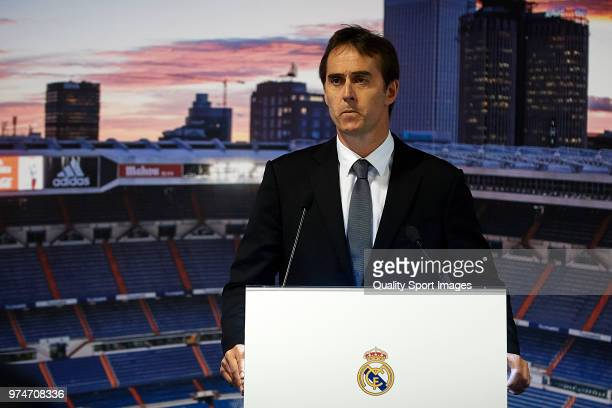 Julen Lopetegui addresses the media after being announced as new Real Madrid head coach at Santiago Bernabeu Stadium on June 14 2018 in Madrid Spain...