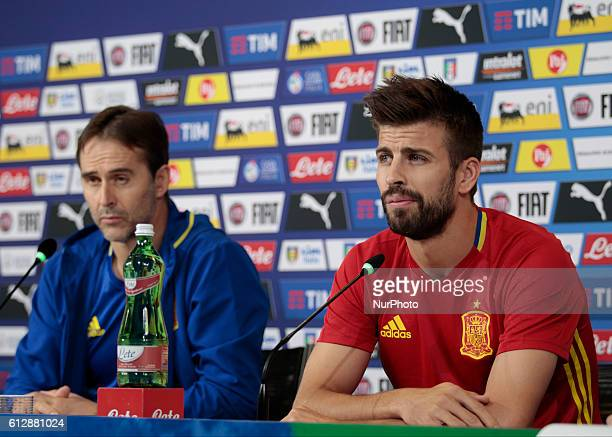 Julen Lopetegui and Gerard Piqu during the press conference before the qualifying match for the World Cup 2018 between Italia v Spagna in Turin...