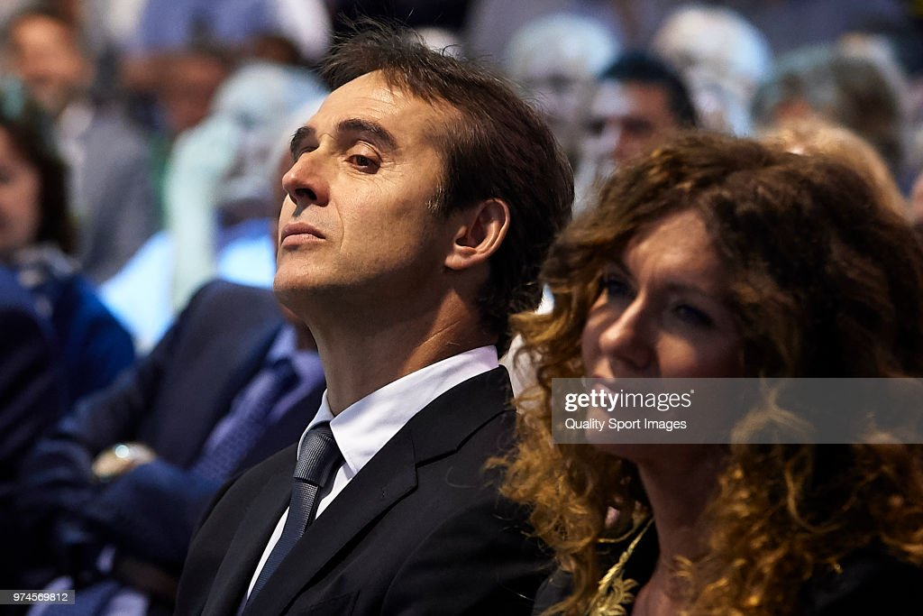 Julen Lopetegui (L) and his wife Rosa Maqueda attend the press conference in which he will be announced as new Real Madrid head coach at Santiago Bernabeu Stadium.