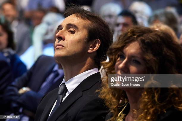 Julen Lopetegui and his wife Rosa Maqueda attend the press conference in which he will be announced as new Real Madrid head coach at Santiago...