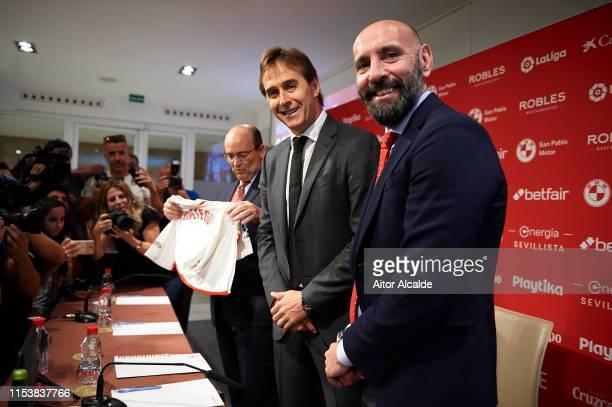 "Julen Lopetegui and Sport director of Sevilla FC Ramon Rodriguez ""Monchi"" attends the unveiling of Julen Lopetegui as manager of Sevilla FC on June..."