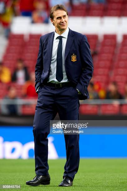 Julen Lopetegui coach of Spain looks on prior to the international friendly match between Spain and Argentina at Wanda Metropolitano stadium on March...