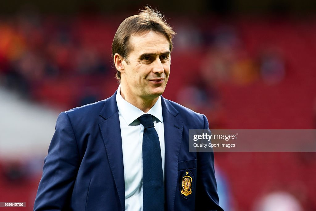 Julen Lopetegui coach of Spain looks on prior to the international friendly match between Spain and Argentina at Wanda Metropolitano stadium on March 27, 2018 in Madrid, Spain.
