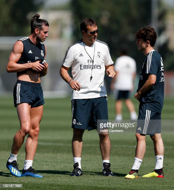 Julen Lopetegui Gareth Bale and Alvaro Odriozola of Real Madrid during a training session at Valdebebas training ground on July 19 2018 in Madrid...