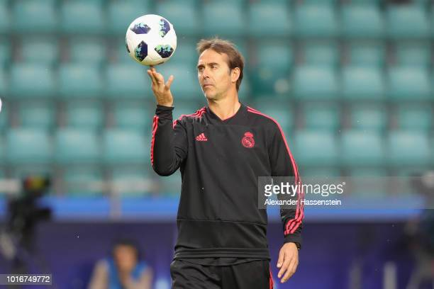 Julen Lopetegui head coach of Real Madrid CF plays with the ball during a training session ahead of the UEFA Super Cup match against Atletico Madrid...
