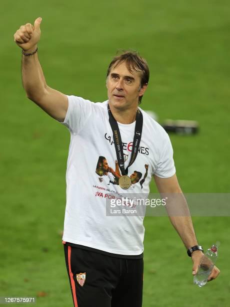 Julen Lopetegui, Head Coach of Sevilla celebrates following his team's victory in the UEFA Europa League Final between Seville and FC Internazionale...