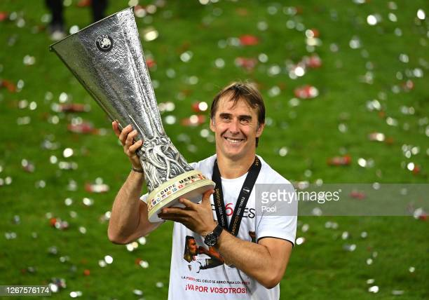 Julen Lopetegui, Head Coach of Sevilla celebrates with the UEFA Europa League Trophy following his team's victory in during the UEFA Europa League...
