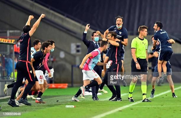 Julen Lopetegui, Head Coach of Sevilla FC celebrates after the UEFA Europa League Semi Final between Sevilla and Manchester United at...