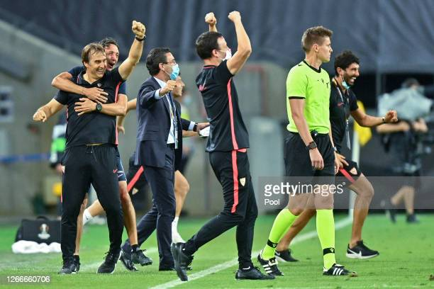 Julen Lopetegui, Head Coach of Sevilla FC celebrates following his sides victory in the UEFA Europa League Semi Final between Sevilla and Manchester...