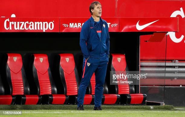 Julen Lopetegui, Head Coach of Sevilla FC looks on during the La Liga Santander match between Sevilla FC and SD Eibar at Estadio Ramon Sanchez...