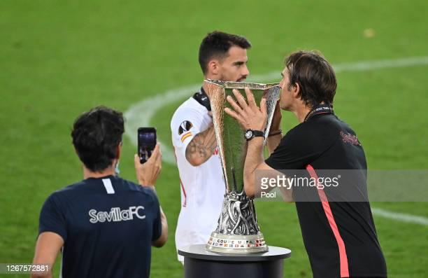 Julen Lopetegui, Head Coach of Sevilla kisses the UEFA Europa League Trophy following his team's victory in the UEFA Europa League Final between...
