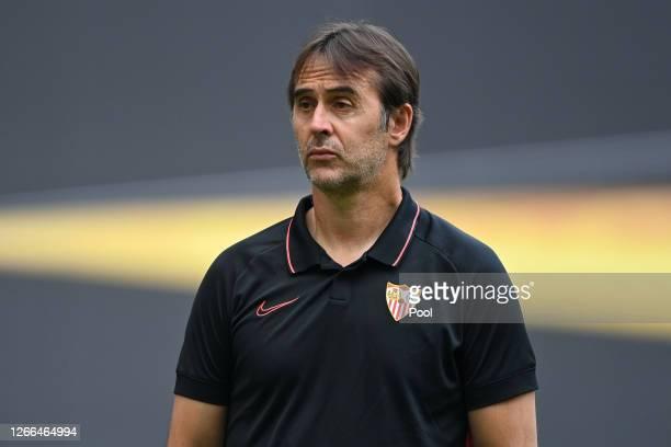 Julen Lopetegui, Head Coach of Sevilla looks on during the Sevilla Training Session ahead of the UEFA Europa Semi-Final match between Sevilla and...
