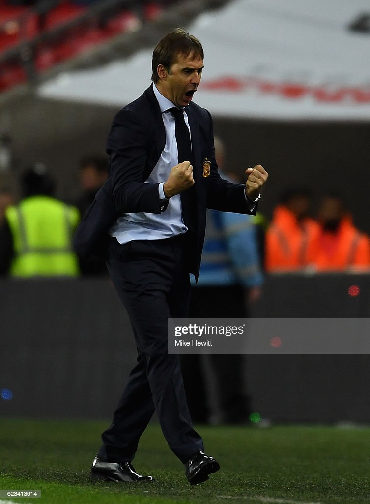 Julen Lopetegui head coach of Spain celebrates as Isco of Spain scores their second goal during the international friendly match between England and Spain at Wembley Stadium on November 15, 2016 in London, England.