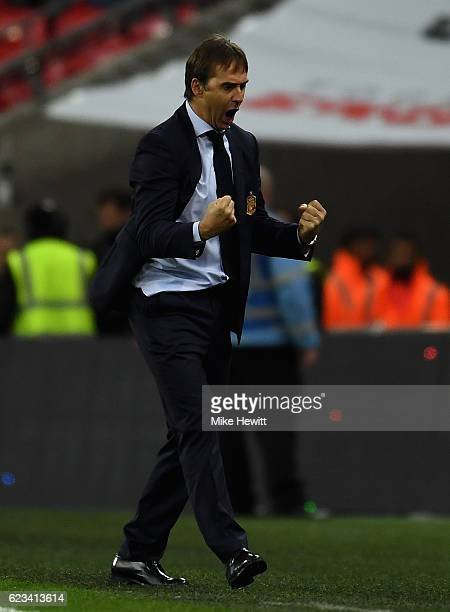 Julen Lopetegui head coach of Spain celebrates as Isco of Spain scores their second goal during the international friendly match between England and...