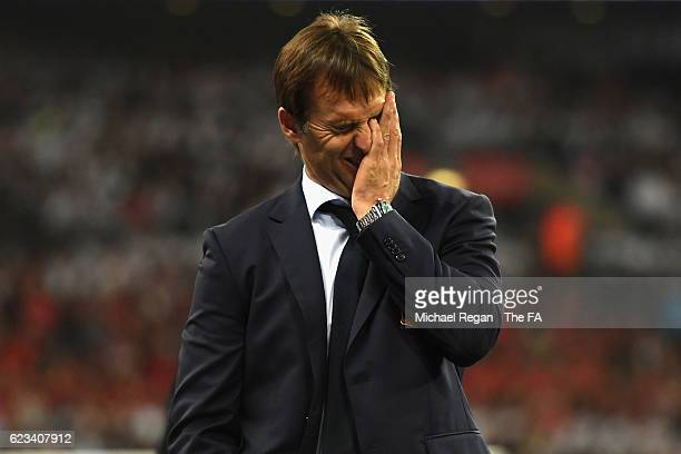 Julen Lopetegui, Head Coach of Spain reacts during the international friendly match between England and Spain at Wembley Stadium on November 15, 2016...