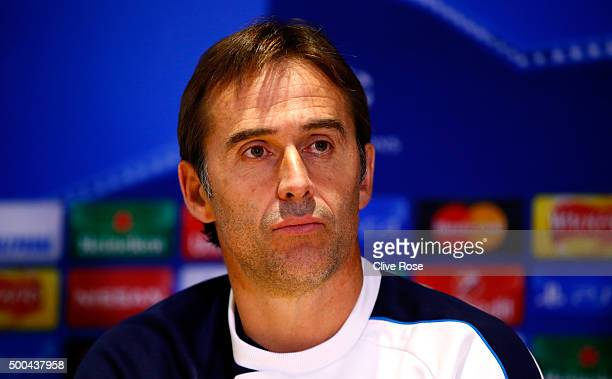 Julen Lopetegui Manager of FC Porto attends a press conference ahead of the UEFA Champions League match against Chelsea at Stamford Bridge on...