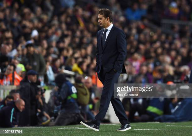Julen Lopetegui Manager of Real Madrid looks dejected during the La Liga match between FC Barcelona and Real Madrid CF at Camp Nou on October 28 2018...