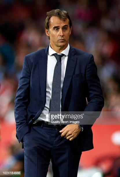 Julen Lopetegui Manager of Real Madrid looks on during the La Liga match between Girona FC and Real Madrid CF at Montilivi Stadium on August 26 2018...