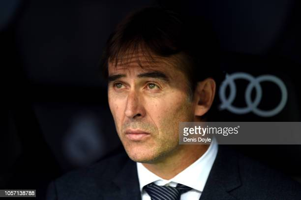 Julen Lopetegui Manager of Real Madrid looks on during the La Liga match between Real Madrid CF and Levante UD at Estadio Santiago Bernabeu on...