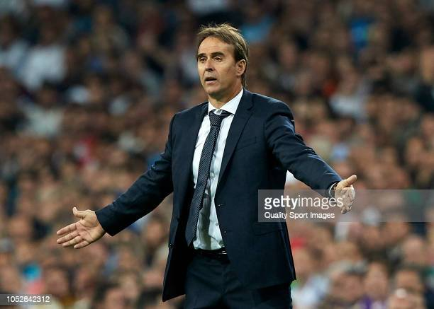 Julen Lopetegui Manager of Real Madrid reacts during the Group G match of the UEFA Champions League between Real Madrid and Viktoria Plzen at...