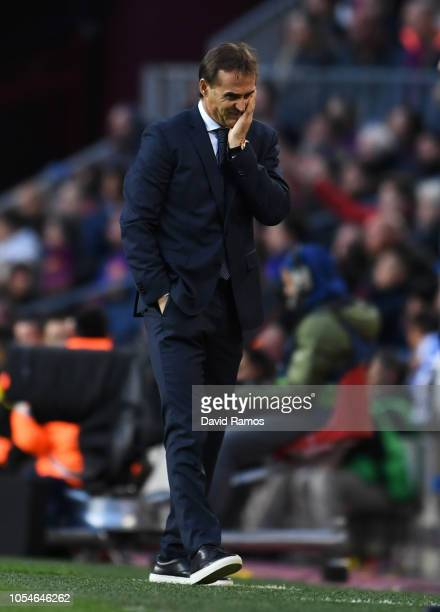 Julen Lopetegui Manager of Real Madrid reacts during the La Liga match between FC Barcelona and Real Madrid CF at Camp Nou on October 28 2018 in...