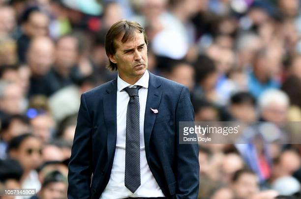 Julen Lopetegui Manager of Real Madrid reacts during the La Liga match between Real Madrid CF and Levante UD at Estadio Santiago Bernabeu on October...