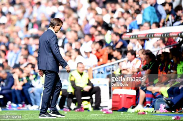 Julen Lopetegui Manager of Real Madrid walks back to his seat during the La Liga match between Real Madrid CF and Levante UD at Estadio Santiago...