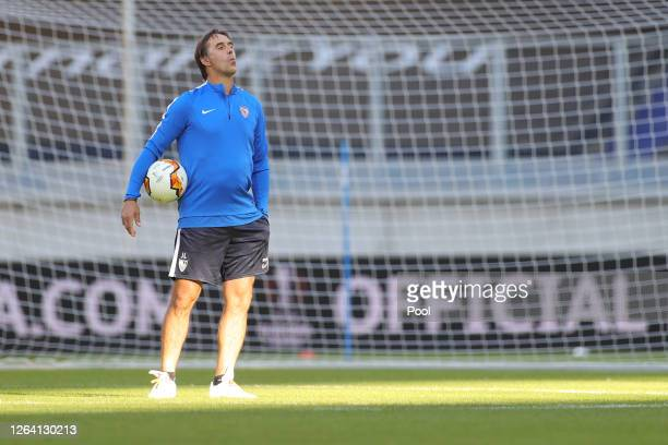 Julen Lopetegui Manager of Sevilla holds the ball during a Sevilla Training Session And Press Conference at MSV Arena on August 05 2020 in Duisburg...