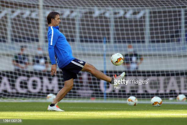 Julen Lopetegui Manager of Sevilla juggles the ball during a Sevilla Training Session And Press Conference at MSV Arena on August 05 2020 in Duisburg...