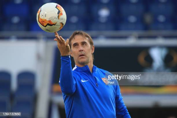 Julen Lopetegui Manager of Sevilla juggles the ball during an Sevilla FC Training Session And Press Conference at MSV Arena on August 05 2020 in...