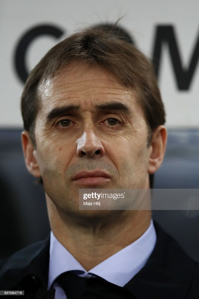 Julen Lopetegui, Manager of Spain looks on prior to the International friendly match between Germany and Spain at Esprit-Arena on March 23, 2018 in Duesseldorf, Germany.