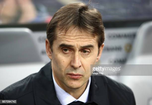 Julen Lopetegui Manager of Spain looks on prior to the International friendly match between Germany and Spain at EspritArena on March 23 2018 in...