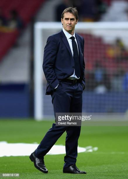 Julen Lopetegui Manager of Spain looks on prior to the International Friendly between Spain and Argentina on March 27 2018 in Madrid Spain