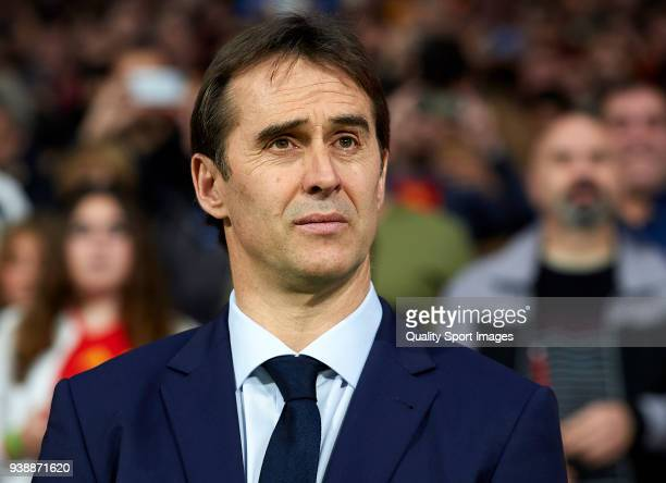 Julen Lopetegui Manager of Spain looks on prior to the international friendly match between Spain and Argentina at Wanda Metropolitano stadium on...