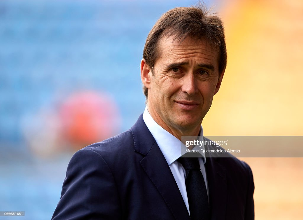 Julen Lopetegui, manager of Spain looks on prior to the International Friendly match between Spain and Switzerland at Estadio de La Ceramica on June 3, 2018 in Villareal, Spain.