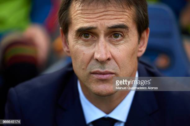 Julen Lopetegui manager of Spain looks on prior to the International Friendly match between Spain and Switzerland at Estadio de La Ceramica on June 3...