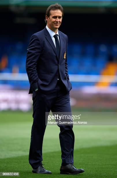 Julen Lopetegui manager of Spain walks on the pitch prior to the International Friendly match between Spain and Switzerland at Estadio de La Ceramica...