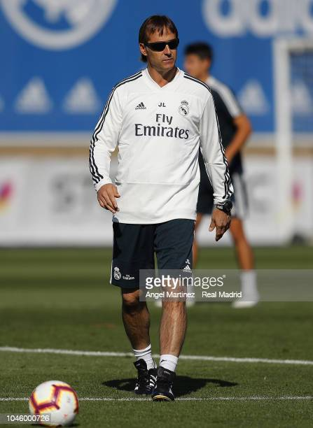 Julen Lopetegui of Real Madrid looks on during a training session at Valdebebas training ground on October 5 2018 in Madrid Spain