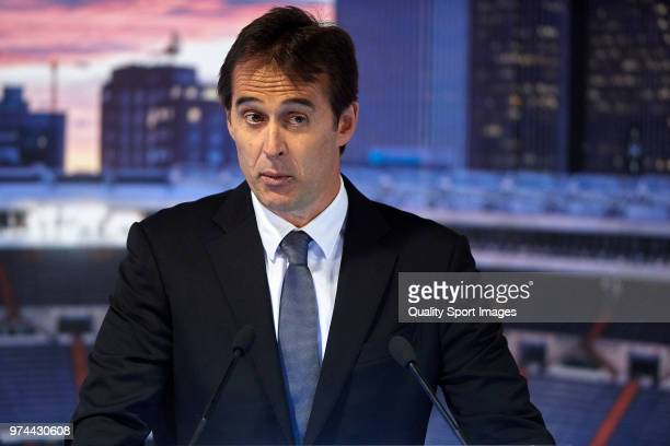 Julen Lopetegui speaks to the media after being announced as new Real Madrid head coach at Santiago Bernabeu Stadium on June 14 2018 in Madrid Spain