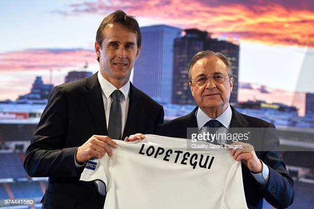 Julen Lopetegui the new head coach of Real Madrid poses with Florentino Perez President of Real Madrid at Santiago Bernabeu Stadium on June 14 2018...