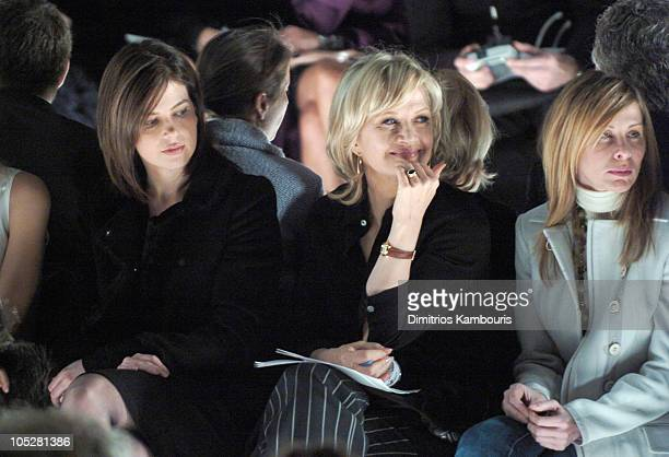 Jules Asner and Diane Sawyer during Olympus Fashion Week Fall 2004 Narciso Rodriguez Front Row and Backstage at The Tent at Bryant Park in New York...