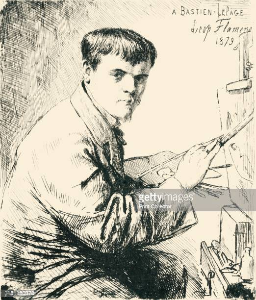 Jules Bastien-Lepage . Portrait of French painter Bastien-Lepage who fought and was wounded during the Franco-Prussian war of 1870. After an etching...