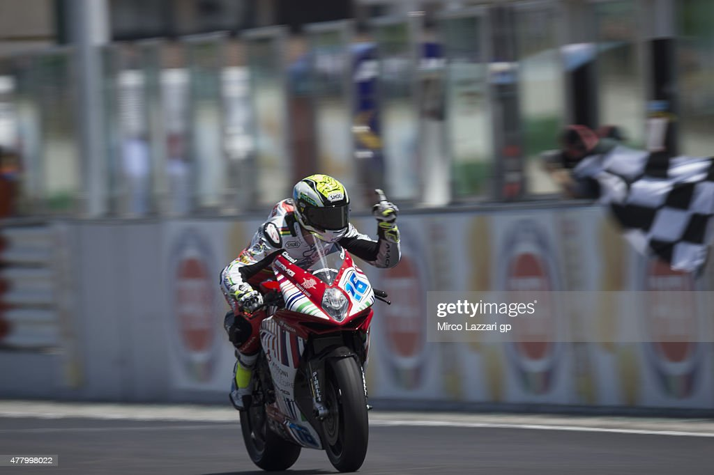 Jules Cluzel of France and MV AGUSTA REPARTO CORSE celebrates the victory at the end of the Supersport Race during the FIM Superbike World Championship - Race at Misano World Circuit on June 21, 2015 in Misano Adriatico, Italy.