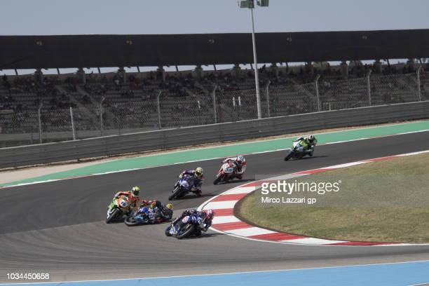 Jules Cluzel of France and NRT and Sandro Cortese of Germany and Kallio Racing crashed out during the Supersport race during the Motul FIM Superbike...