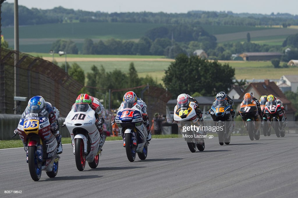 Jules Danilo of France and Marinelli Rivacold Snipers Team leads the field during the Moto3 race during the MotoGp of Germany - Race at Sachsenring Circuit on July 2, 2017 in Hohenstein-Ernstthal, Germany.