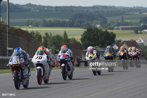 Jules Danilo of France and Marinelli Rivacold Snipers Team leads the field during the Moto3 race during the MotoGp of Germany Race at Sachsenring...