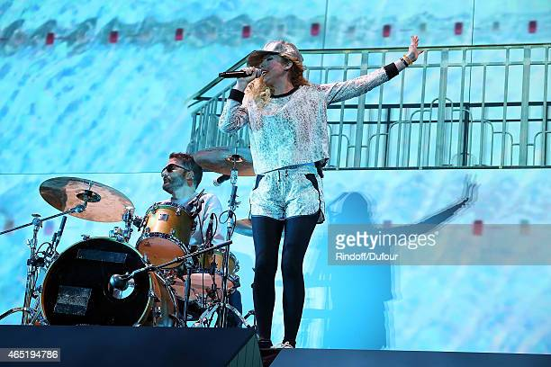 Jules De Martino and Katie White of The Ting Tings perform during the ETAM show as part of the Paris Fashion Week Womenswear Fall/Winter 2015/2016 at...