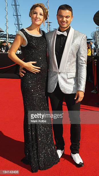 Jules Egan and Guy Sebastian arrive at the 2011 ARIA Awards at Allphones Arena on November 27 2011 in Sydney Australia